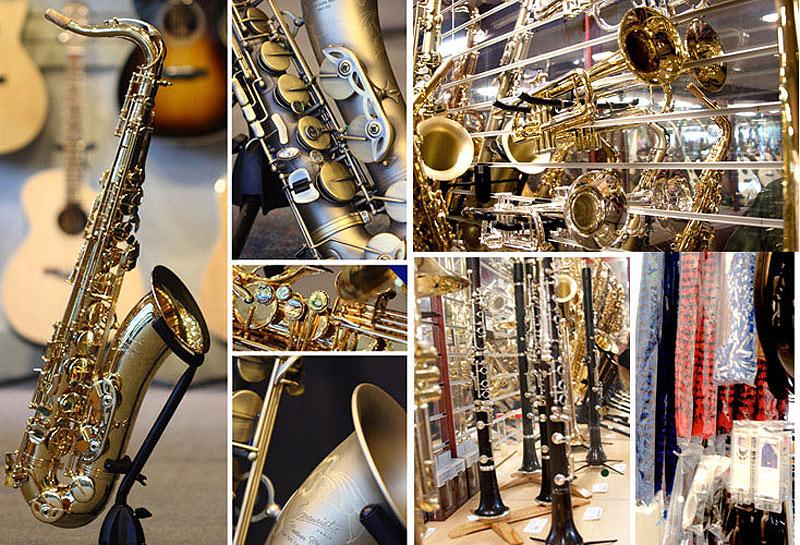 trumpets, saxophones, clarinets, flutes